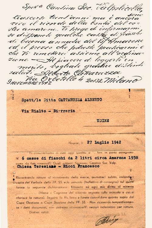 Domìni Veneti - documento vendita 1° bottiglia di Amarone